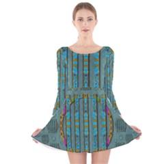 Freedom Is Every Where Just Love It Pop Art Long Sleeve Velvet Skater Dress