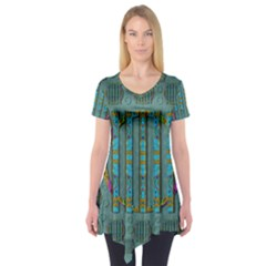 Freedom Is Every Where Just Love It Pop Art Short Sleeve Tunic