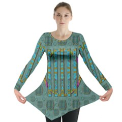 Freedom Is Every Where Just Love It Pop Art Long Sleeve Tunic