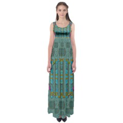 Freedom Is Every Where Just Love It Pop Art Empire Waist Maxi Dress