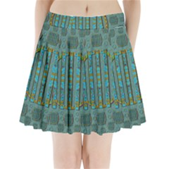 Freedom Is Every Where Just Love It Pop Art Pleated Mini Skirt