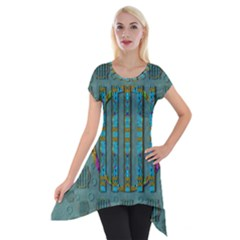 Freedom Is Every Where Just Love It Pop Art Short Sleeve Side Drop Tunic