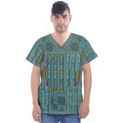 Freedom Is Every Where Just Love It Pop Art Men s V Neck Scrub Top