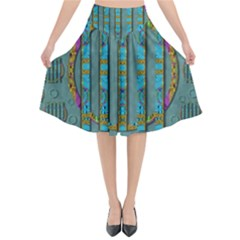 Freedom Is Every Where Just Love It Pop Art Flared Midi Skirt