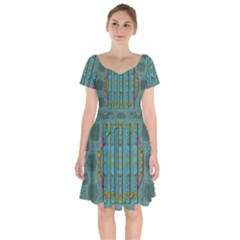 Freedom Is Every Where Just Love It Pop Art Short Sleeve Bardot Dress