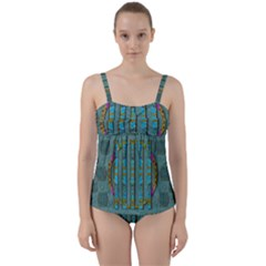 Freedom Is Every Where Just Love It Pop Art Twist Front Tankini Set