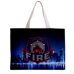 Chicago Fire With Skyline Medium Tote Bag