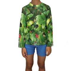 Christmas Season Floral Green Red Skimmia Flower Kids  Long Sleeve Swimwear