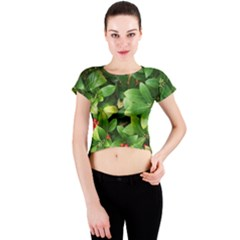 Christmas Season Floral Green Red Skimmia Flower Crew Neck Crop Top