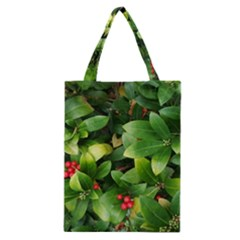 Christmas Season Floral Green Red Skimmia Flower Classic Tote Bag