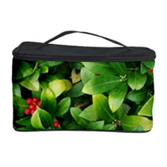 Christmas Season Floral Green Red Skimmia Flower Cosmetic Storage Case