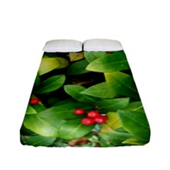 Christmas Season Floral Green Red Skimmia Flower Fitted Sheet (full/ Double Size)