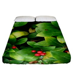 Christmas Season Floral Green Red Skimmia Flower Fitted Sheet (king Size)