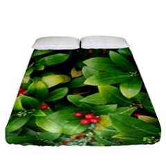 Christmas Season Floral Green Red Skimmia Flower Fitted Sheet (california King Size)