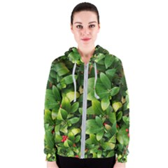 Christmas Season Floral Green Red Skimmia Flower Women s Zipper Hoodie