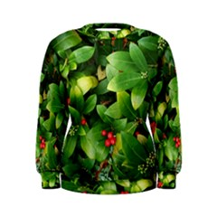Christmas Season Floral Green Red Skimmia Flower Women s Sweatshirt