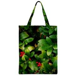 Christmas Season Floral Green Red Skimmia Flower Zipper Classic Tote Bag