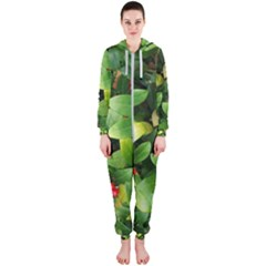 Christmas Season Floral Green Red Skimmia Flower Hooded Jumpsuit (ladies)