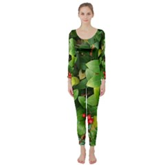 Christmas Season Floral Green Red Skimmia Flower Long Sleeve Catsuit
