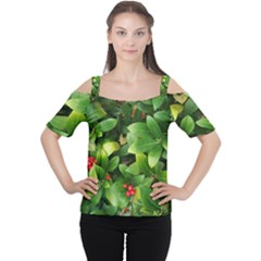 Christmas Season Floral Green Red Skimmia Flower Cutout Shoulder Tee