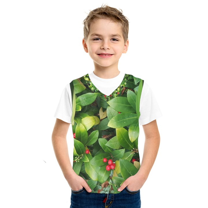 Christmas Season Floral Green Red Skimmia Flower Kids  SportsWear