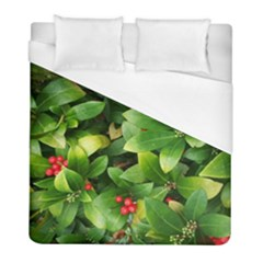 Christmas Season Floral Green Red Skimmia Flower Duvet Cover (full/ Double Size)