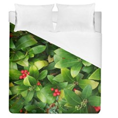Christmas Season Floral Green Red Skimmia Flower Duvet Cover (queen Size)