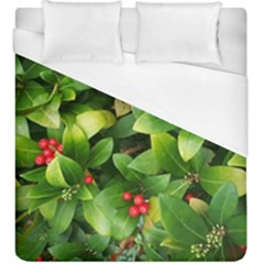 Christmas Season Floral Green Red Skimmia Flower Duvet Cover (king Size)