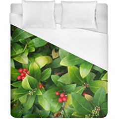 Christmas Season Floral Green Red Skimmia Flower Duvet Cover (california King Size)