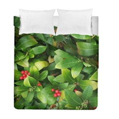 Christmas Season Floral Green Red Skimmia Flower Duvet Cover Double Side (full/ Double Size)