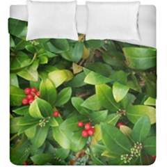 Christmas Season Floral Green Red Skimmia Flower Duvet Cover Double Side (king Size)