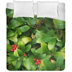 Christmas Season Floral Green Red Skimmia Flower Duvet Cover Double Side (california King Size)