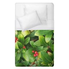 Christmas Season Floral Green Red Skimmia Flower Duvet Cover (single Size)