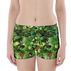 Christmas Season Floral Green Red Skimmia Flower Boyleg Bikini Wrap Bottoms