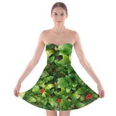 Christmas Season Floral Green Red Skimmia Flower Strapless Bra Top Dress