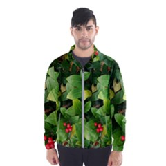 Christmas Season Floral Green Red Skimmia Flower Wind Breaker (men)