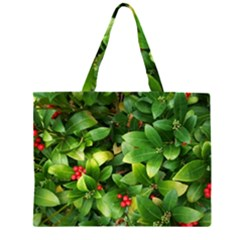Christmas Season Floral Green Red Skimmia Flower Zipper Large Tote Bag