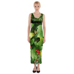 Christmas Season Floral Green Red Skimmia Flower Fitted Maxi Dress