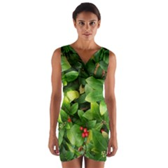 Christmas Season Floral Green Red Skimmia Flower Wrap Front Bodycon Dress