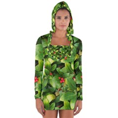 Christmas Season Floral Green Red Skimmia Flower Long Sleeve Hooded T Shirt