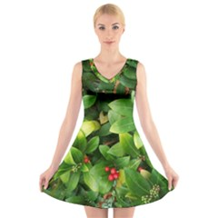 Christmas Season Floral Green Red Skimmia Flower V Neck Sleeveless Skater Dress