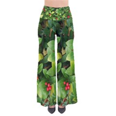 Christmas Season Floral Green Red Skimmia Flower Pants
