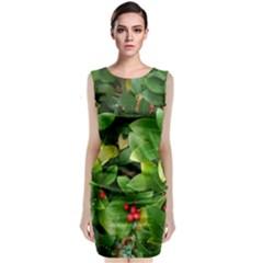 Christmas Season Floral Green Red Skimmia Flower Classic Sleeveless Midi Dress
