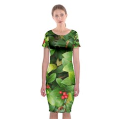Christmas Season Floral Green Red Skimmia Flower Classic Short Sleeve Midi Dress
