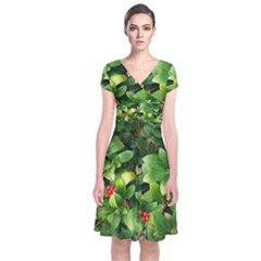 Christmas Season Floral Green Red Skimmia Flower Short Sleeve Front Wrap Dress