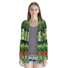 Christmas Season Floral Green Red Skimmia Flower Drape Collar Cardigan