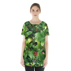 Christmas Season Floral Green Red Skimmia Flower Skirt Hem Sports Top