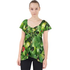 Christmas Season Floral Green Red Skimmia Flower Lace Front Dolly Top