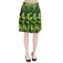 Christmas Season Floral Green Red Skimmia Flower Pleated Skirt