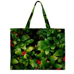 Christmas Season Floral Green Red Skimmia Flower Zipper Medium Tote Bag